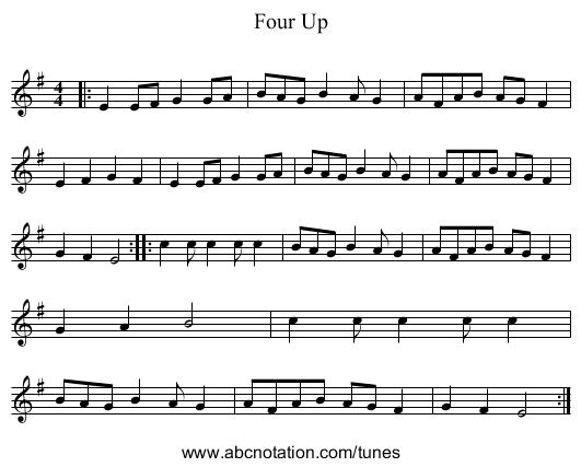 Four Up - staff notation