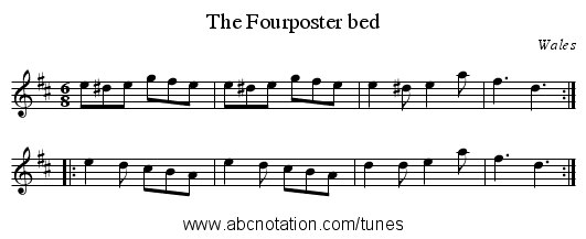 Fourposter bed, The - staff notation