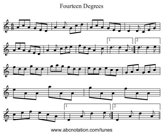 Fourteen Degrees - staff notation