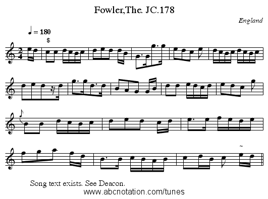 Fowler,The. JC.178 - staff notation