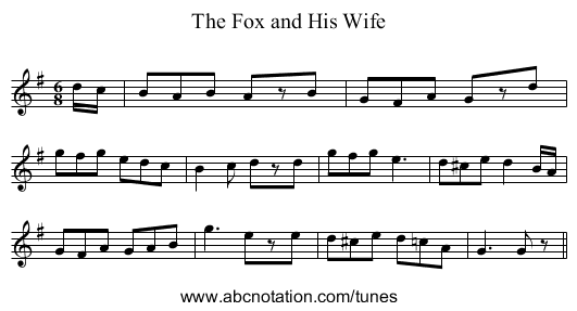 Fox and His Wife, The - staff notation
