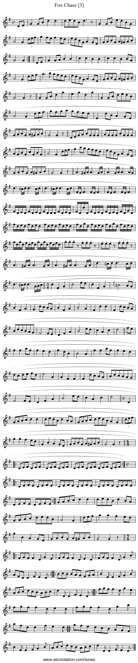 Fox Chase [3] - staff notation
