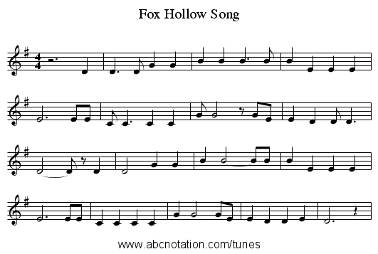 Fox Hollow Song - staff notation