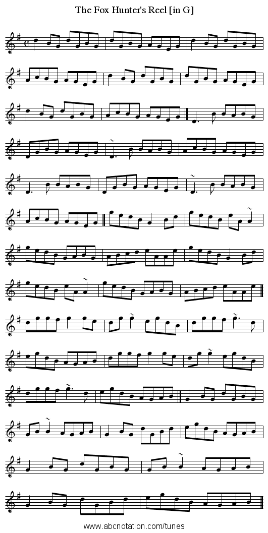 Fox Hunter's Reel [in G], The - staff notation