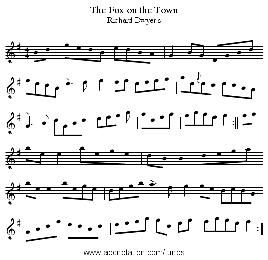 Fox on the Town, The - staff notation