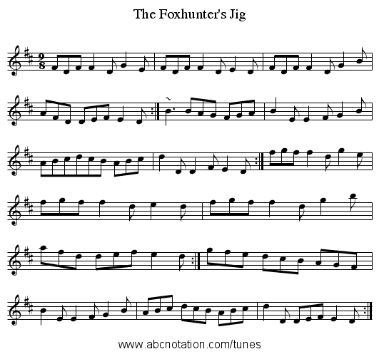 Foxhunter's Jig, The - staff notation