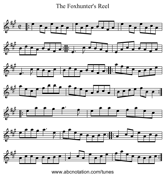 Foxhunter's Reel, The - staff notation