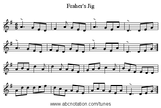 Fraher's Jig - staff notation