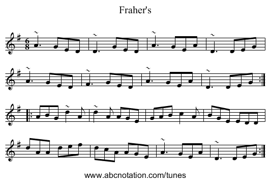 Fraher's - staff notation