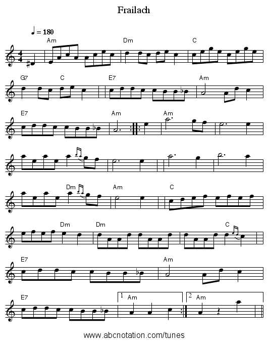Frailach - staff notation