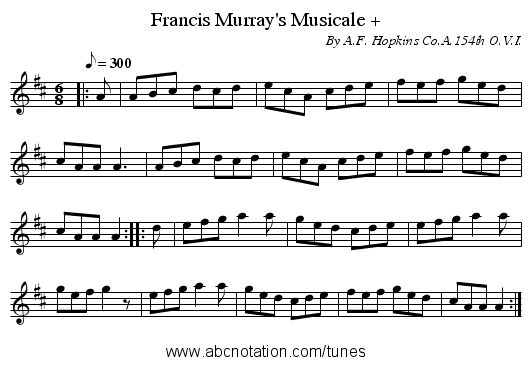 Francis Murray's Musicale + - staff notation