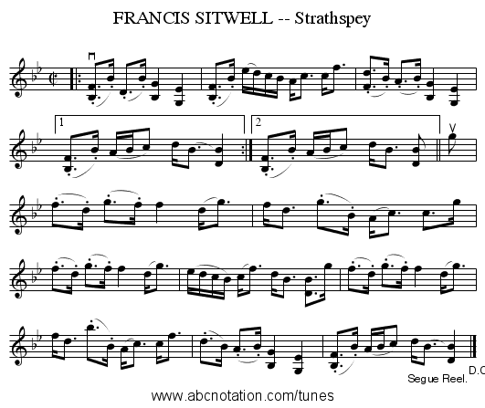 FRANCIS SITWELL -- Strathspey - staff notation
