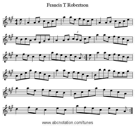 Francis T Robertson - staff notation