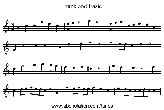 Frank and Easie - staff notation