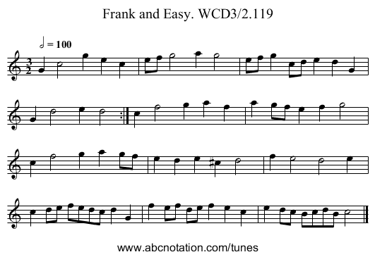 Frank and Easy. WCD3/2.119 - staff notation