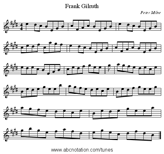 Frank Gilruth - staff notation