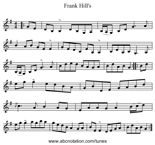 Frank Hill's - staff notation