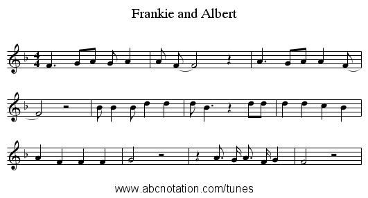 Frankie and Albert - staff notation