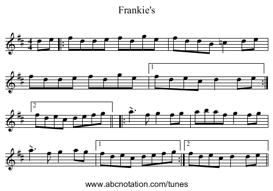 Frankie's - staff notation