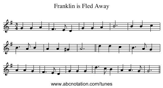 Franklin is Fled Away - staff notation
