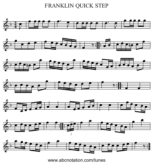 FRANKLIN QUICK STEP - staff notation