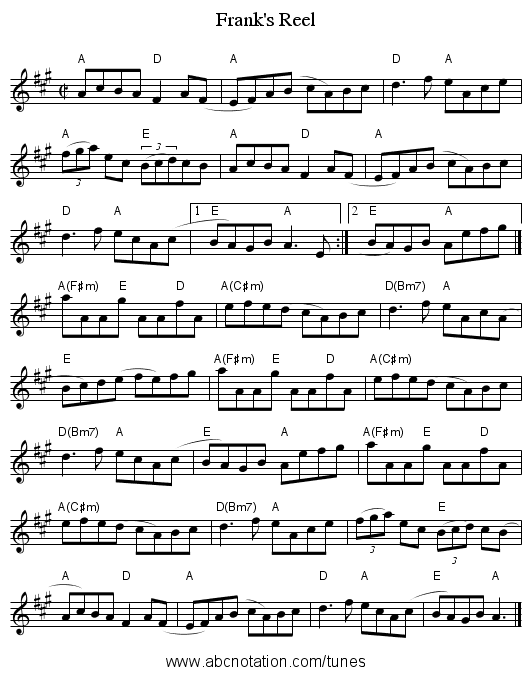 Frank's Reel - staff notation