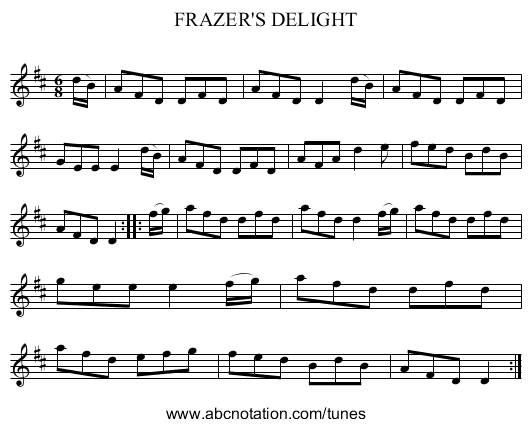 FRAZER'S DELIGHT - staff notation