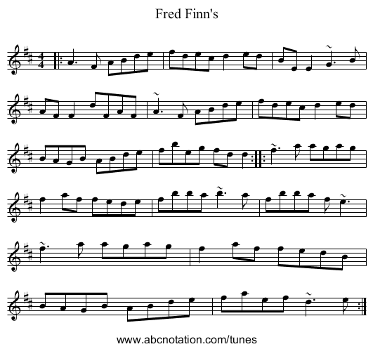 Fred Finn's - staff notation