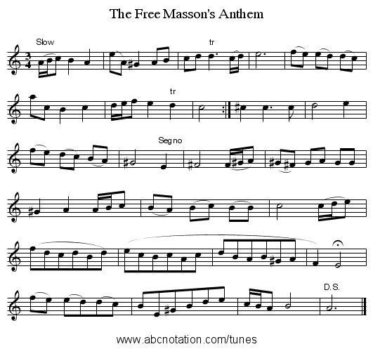 Free Masson's Anthem, The - staff notation