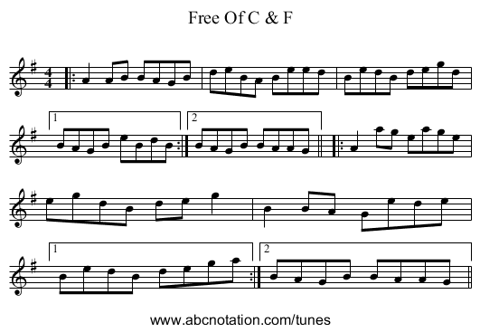 Free Of C & F - staff notation