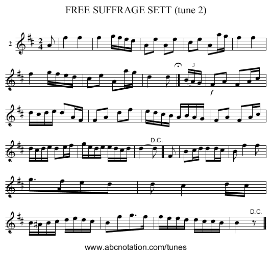 FREE SUFFRAGE SETT (tune 2) - staff notation