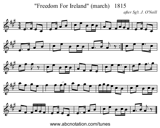Freedom For Ireland (march)   1815 - staff notation