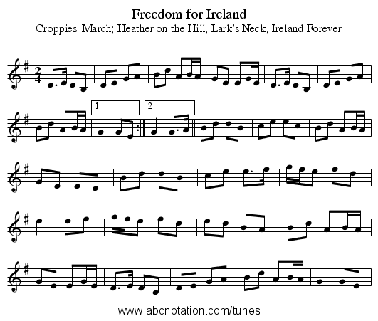 Freedom for Ireland - staff notation