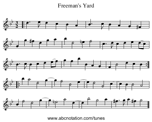 Freeman's Yard - staff notation