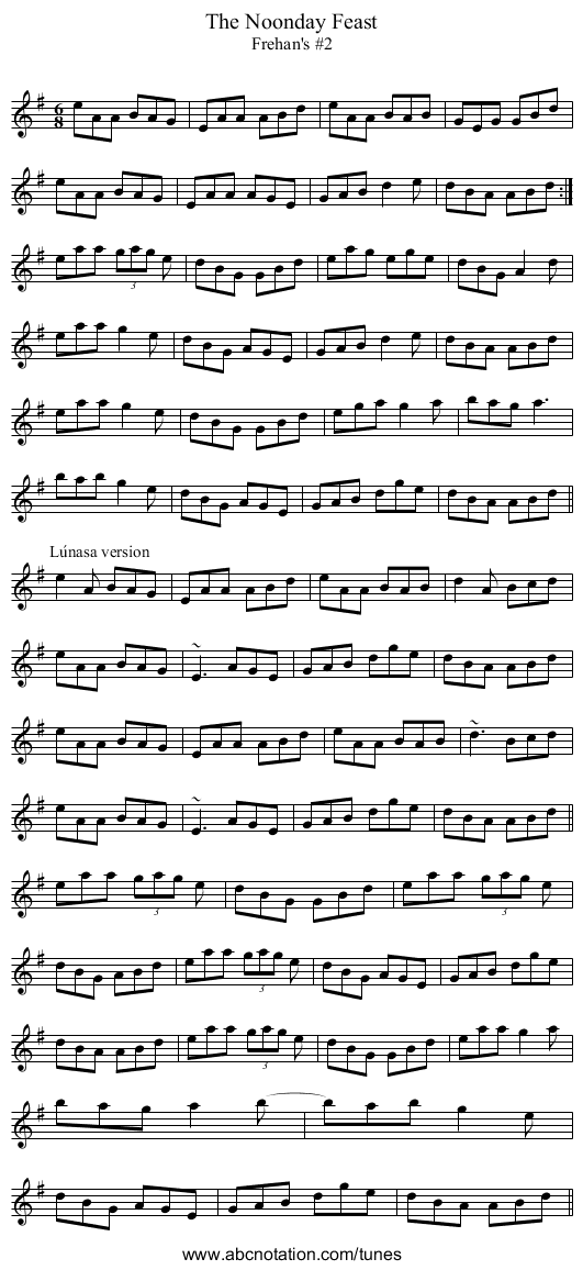 Frehan's #2 - staff notation