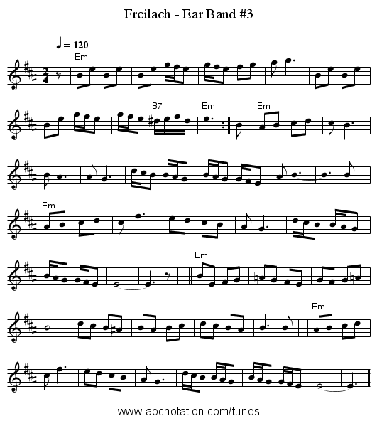 Freilach - Ear Band #3 - staff notation