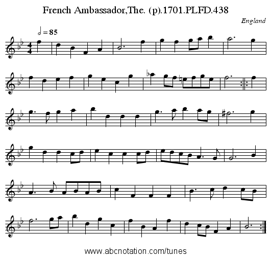 French Ambassador,The. (p).1701.PLFD.438 - staff notation