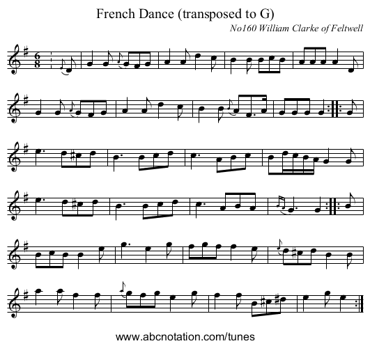 French Dance (transposed to G) - staff notation