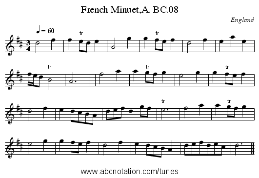French Minuet,A. BC.08 - staff notation