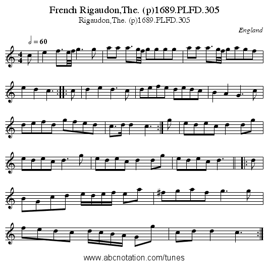 French Rigaudon,The. (p)1689.PLFD.305 - staff notation