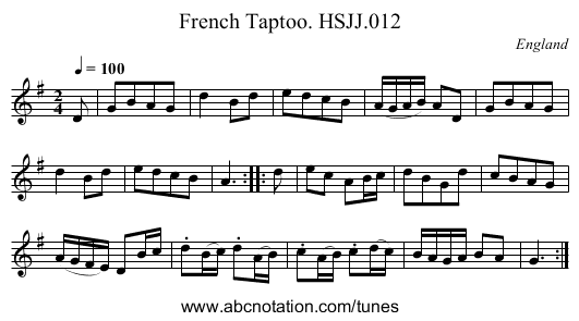 French Taptoo. HSJJ.012 - staff notation