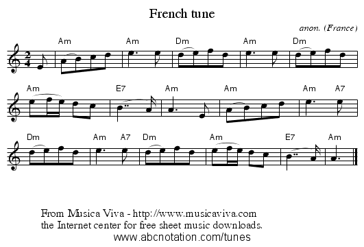 French tune - staff notation