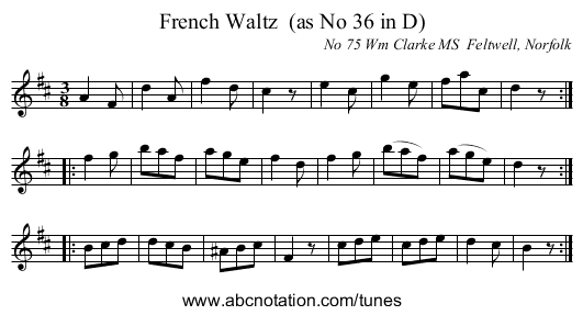 French Waltz  (as No 36 in D) - staff notation