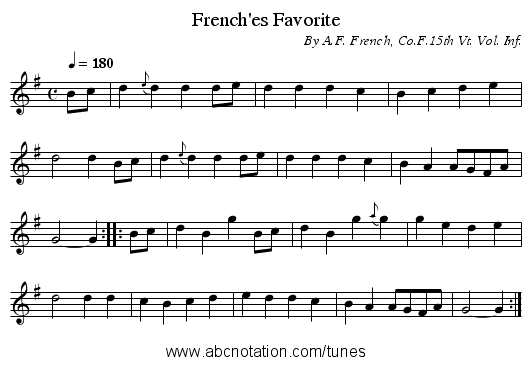 French'es Favorite - staff notation