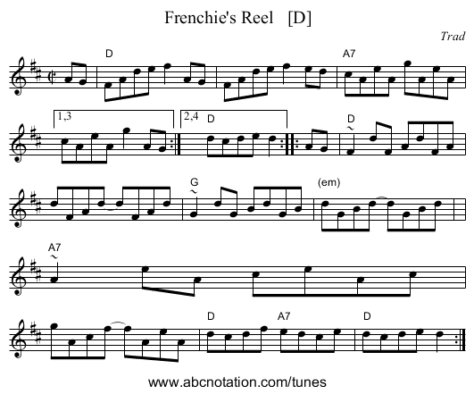 Frenchie's Reel   [D] - staff notation