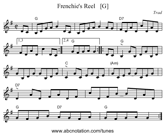 Frenchie's Reel   [G] - staff notation