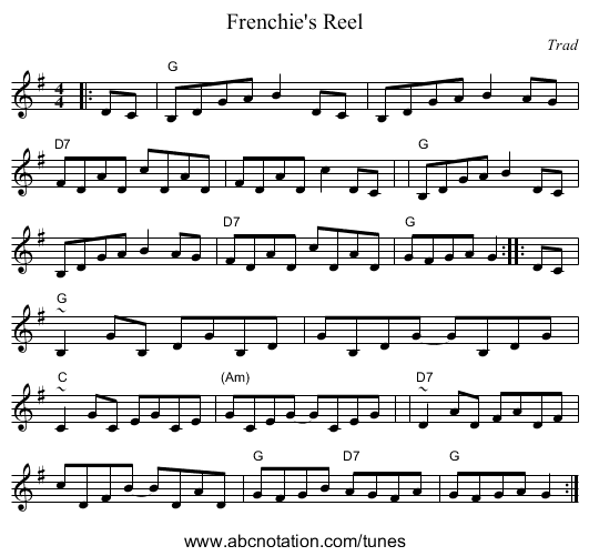 Frenchie's Reel - staff notation