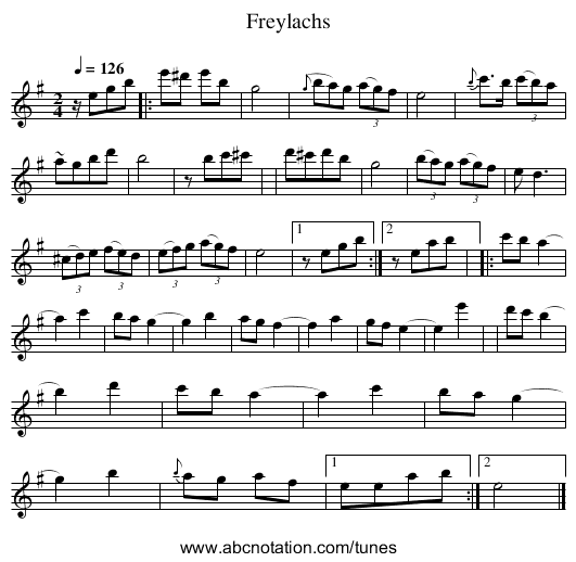 Freylachs - staff notation