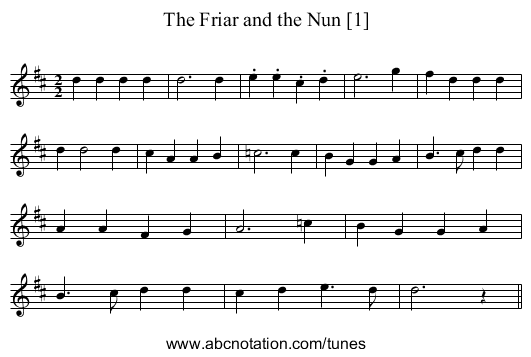 Friar and the Nun [1], The - staff notation