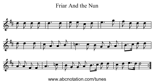 Friar And the Nun - staff notation